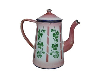 French Vintage Pink White & Green Enamel Coffee Pot - Green Clover Trefoil - French Country Cottage Kitchenware Enamelware - Cafe au Lait