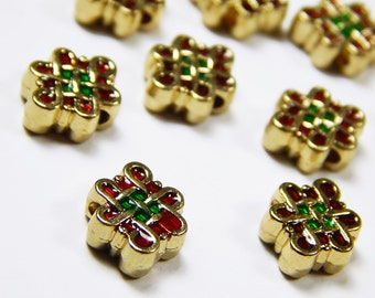 5 Pcs - 11x9mm Gold, Red And Green Thai Wind Beads - Cloissone Beads - Enamel Beads - Metal Spacer Beads - Jewelry Supplies
