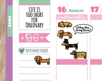 Dachshund Sausage Dog Planner Stickers
