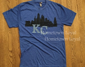 Kansas City Skyline T-shirt.Kansas City Royal Blue T-Shirt.Kc. KC T shirt. Kansas City shirt. KC Loyal T shirt.KCMO shirt. Kc apparel.