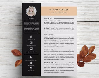 creative resume template cover letter template for word diy printable 3 pack marketing specialist modern and creative design