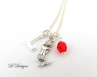 Mermaid Necklace, Mermaid Pendent, Personalised Mermaid Necklace, Sterling Silver Necklace, Beach Necklace. gifts for mermaid lovers
