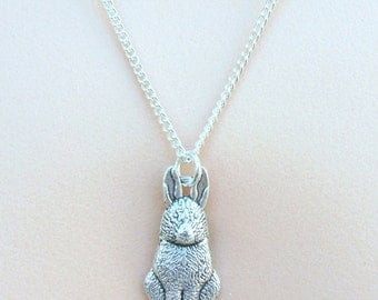 Rabbit Necklace, Silver Rabbit Pendant, Silver Charm Necklace, Silver Necklace, Childrens Necklace Trendy Necklace, Gifts for her
