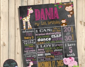 Girl Jungle First Birthday Chalkboard Poster, Girl Safari First Birthday Poster, Jungle Safari Decorations, Wild Safari, Baby Shower Digital