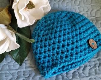 Baby Boy Hat, Crocheted Newborn Beanie Hat, size 3 months, Newborn Hat, Baby Shower Gift