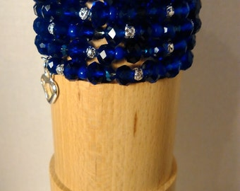 Royal Midnight Blue 7 Loop Memory Wire Bracelet with Silver Heart Charm