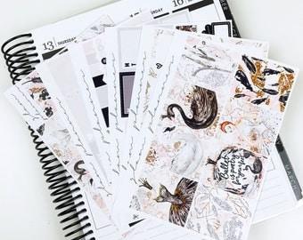 Black Swan Sticker Kit (Glam Planner Stickers for Erin Condren Life Planner)