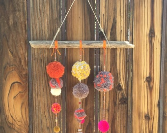 Handmade PomPom and Beadwork Wall Hanging