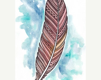 Feather Art Giclee Print - Red Abstract Pattern Feather Illustration - Watercolor and Pen Painting - 5 x 7
