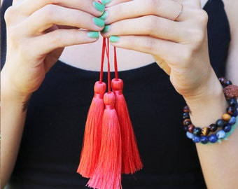 3.5 Luxury Long Silk tassel Watermelon red Mala Beads tassel Pick Your Quantity DIY Fashion Earring Making A001