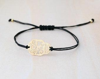 Sugar skull bracelet, mexican skull bracelet, gold skull bracelet, day of the dead, mexico, rock bracelet, hallowen bracelet, gold skull