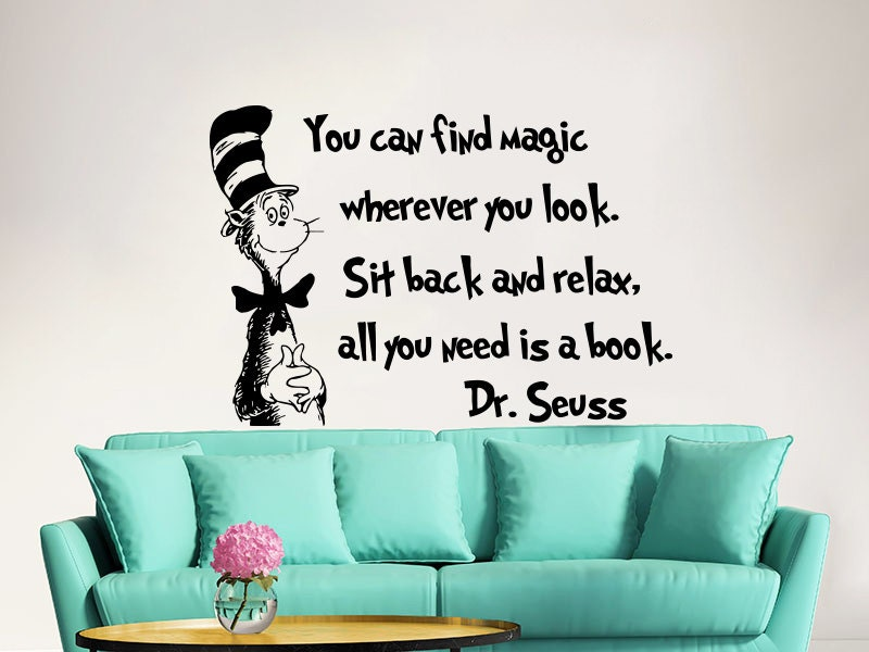 Dr seuss wall decal quote vinyl sticker decals quotes you can for Dr seuss wall mural decals
