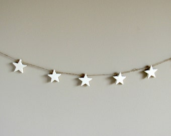 Wooden Star Garland - Christmas Banner - 4th of July Wooden Banner