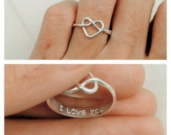 Knot Ring, Promise Ring For Her, Purity Ring, Girlfriend Gift, Personalized Infinity Ring, Heart Knot Ring in Sterling Silver, Rose Gold