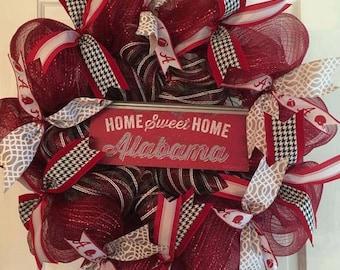 Alabama Wreath, Roll Tide wreath, Crimson and white wreath, Go Bama Wreath