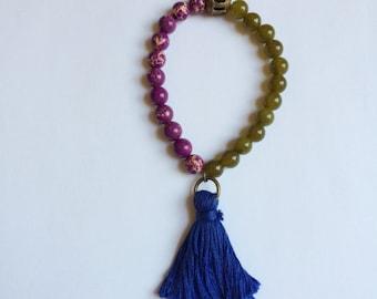 olive & purple beaded tassel bracelet