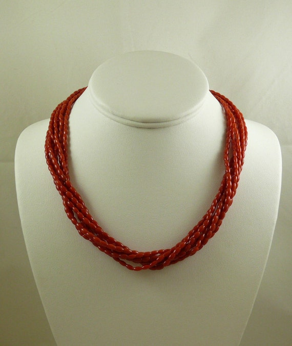 Italian Coral Seven Strand Necklace 14k Yellow Gold Clasp