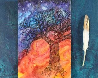 Cosmic Tree of Life Original Watercolor Painting