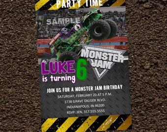 Grave Digger Monster Jam Birthday Party Invitation