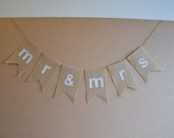 "Rustic Burlap Bunting - Wedding Banner - Burlap Hessian ""mr & mrs"" Bunting"