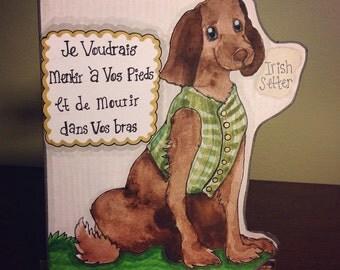 Irish Setter Dog Portrait & Voltaire quote - Original Watercolor Illustration