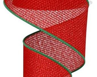 RIBBON - Wired Ribbon - Red Ribbon - Wreath - Floral - RG01276XJ