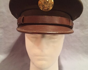 WW2 U.S Army EM Visor Cap Named/Unit Marked