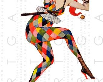 FLAPPER PIERRETE Printable Die Cut Image. Whimsical MASQUERADE Vintage Illustration. Fab Vintage 20's Digital Flapper Download.