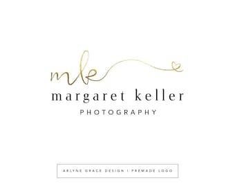 Premade Logo - Logo Design - Business Logo - Photography Logo - Calligraphy Logo - Gold Logo - Heart Logo - Handwritten Logo - Branding Kit