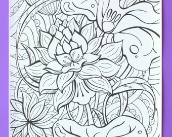 Lotus Colouring Poster | Lotus Coloring Poster | Yoga Poster | Spiritual Coloring Poster | Spiritual Colouring Poster