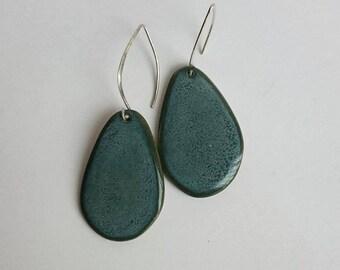 Textured Blue Sterling Silver Earrings