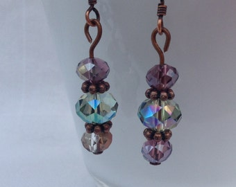 Purple and Blue Green Antique Style Bronzed Earrings, Purple and Blue Dangle Earrings, Nickel Free Fashion Earrings