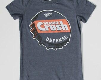 Denver Broncos Shirt - Womens Shirt - Orange Crush Defense - Heather Blue