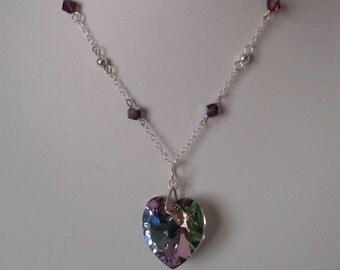 Swarovski Crystal Vitrail Light Heart and Semi Beaded Sterling Silver Necklace