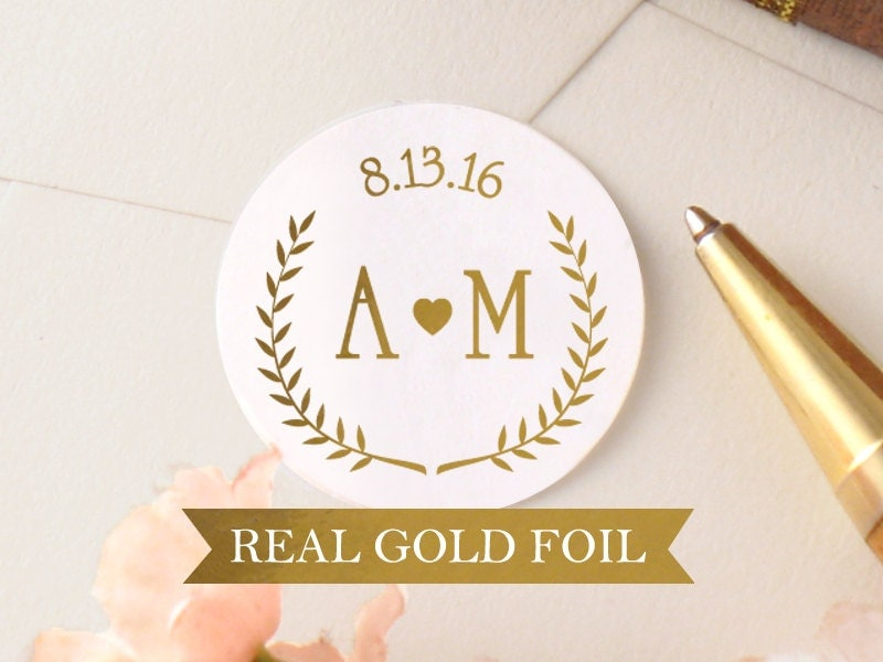 round personalized wedding stickers gold wedding by