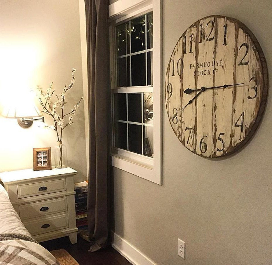 Farmhouse clock co distressed large round wooden wall clock zoom amipublicfo Choice Image