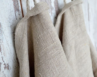 Thick Linen towels - Set of 2 - Undyed  natural linen towels - Simple rustic hand/face/tea towels - Washed rough 100% linen  towels