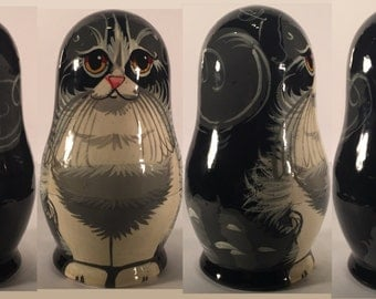 Black and Gray Cat Nesting Doll Set