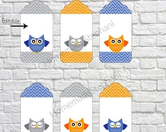 Printable Editable Owl Gift Tags, bright gift tags, customizable gift tags, present tags, thank you gift tags, DIY gift tags - Owl