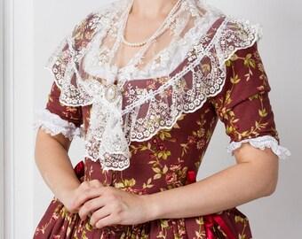Robe a la polonaise, set: Dress + Fichu + Headwear, 18th century, Europe.