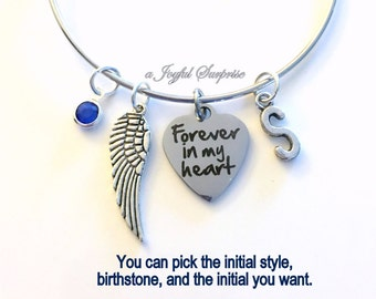 Memorial Bracelet Sympathy Gift Forever in my Heart Loss of Mom Dad Brother Sister Son Jewelry Charm Bangle Silver Wing initial Birthstone