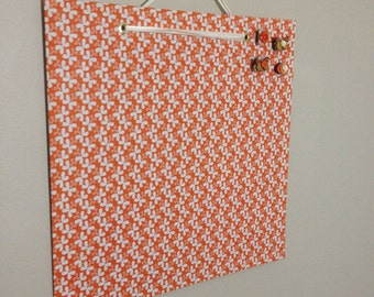 fabric covered magnet board 16x16 orange butterfly print
