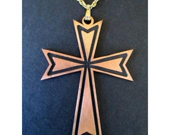 MALTESE CROSS PENDANT Necklace With Chain * Large Cross Pendant * Copper Tone Cross