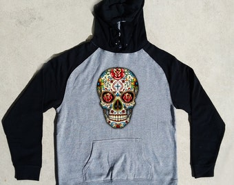 Sugar Skull Roses Cool Fashion Day Of The Dead Dia De Los Muertos Gothic Raglan Hoodies