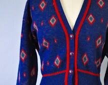 Pendleton Cardigan Sweater Small Vintage Diamond Pattern Cardigan