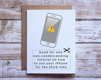 Funny birthday card, Birthday card for mom, Birthday card for dad, Iphone lesson, Mothers day card, Fathers day card