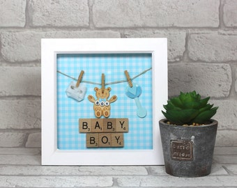 Baby boy gift - Newborn gift - Unique baby boy gift - Baby shower gift - Nursery decor - Keepsake frame - Present for baby boy - Baby frame