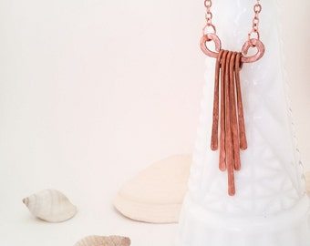Cascading Copper Necklace - Hammered Copper Cascade Necklace