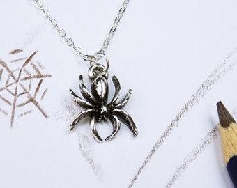 Necklace spider spider pendant to silberfarbener link chain jewelry spider Halloween
