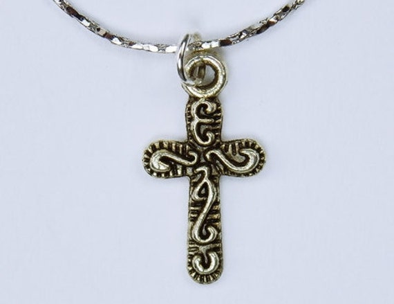 Necklace Cross on silver chain necklace-Symbol for faith and God-Christian-Jewelry